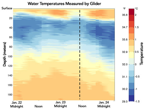 temperature profiles from a glider at Palmer Station, Antarctica