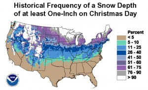 Map of the historical probability of snowfall on December 25 (NOAA)