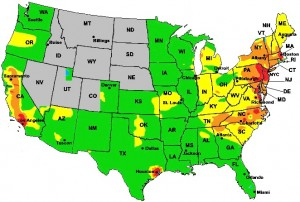 An example Air Quality map from the U.S. EPA.