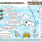 Students artists Luke Fifick and Carli Green (James Monroe Elementary School), Adrian Morelra (South River Elementary) and Katie McDonnell (Cranbury School) developed this educational placemat to help restaurant goers learn about the New Jersey clam fishery.