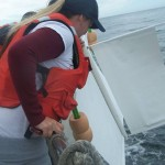 Monterey Peninsula College students launching the drifter