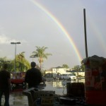 Rainbow over the test setup