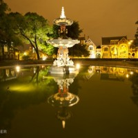 Christchurch fountain at night