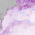 Red, white and blue map of SST Gradients in the Mid Atlantic on July 4, 2013